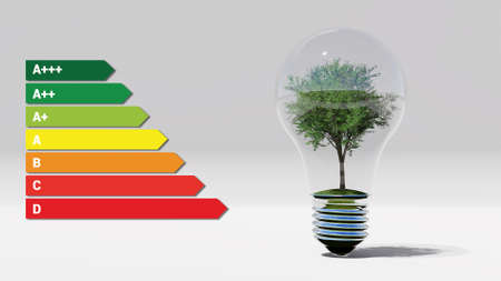 Energy efficient green tree in the bulb 3D rendering