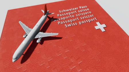 Swiss passport with airplane