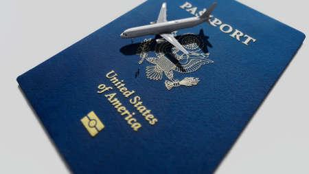US passport and airplane Standard-Bild