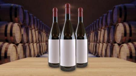 Wine bottles mock up copy space Template for advertising design branding identity