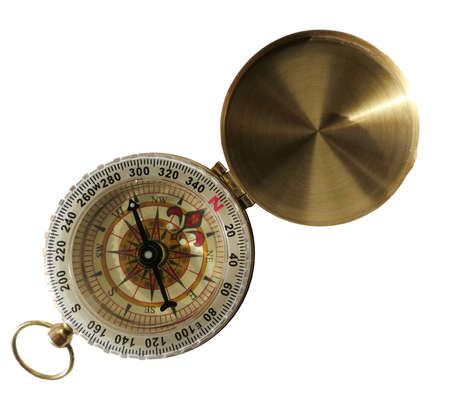 Gold compass isolated on white background Banque d'images - 158775271