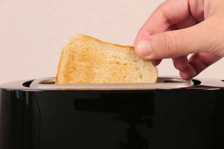 Close up of toaster with two slices of toast Banque d'images