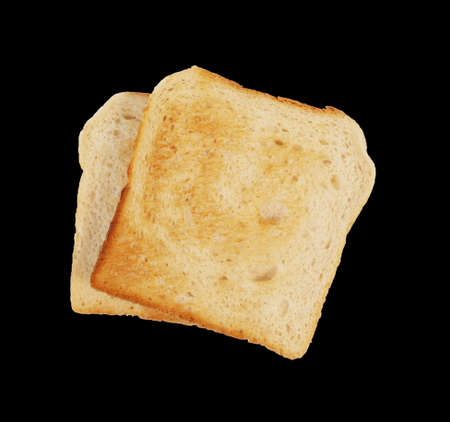 Slices of bread toast isolated on black background Banque d'images - 159394168