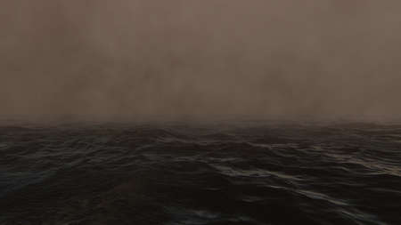 Sea Storm with rain wind and fog Banque d'images