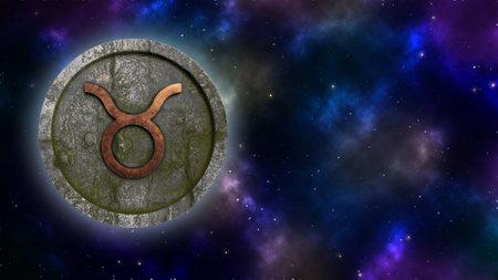 Horoscope sign Taurus bronze and stone 3D rendering