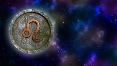 Horoscope sign Leo bronze and stone 3D rendering