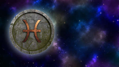 Horoscope sign Pisces bronze and stone 3D rendering