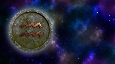 Horoscope sign Aquarius bronze and stone 3D rendering