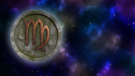 Horoscope sign Virgo bronze and stone 3D rendering Banque d'images - 160525415
