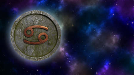 Horoscope sign Cancer bronze and stone 3D rendering Banque d'images - 160525418