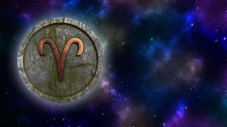 Horoscope sign Aries bronze and stone 3D rendering