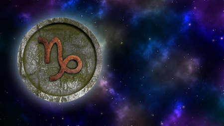 Horoscope sign Capricorn bronze and stone 3D rendering Banque d'images - 160525416