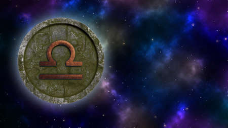 Horoscope sign Libra bronze and stone 3D rendering