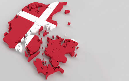 Denmark map with Danish flag 3D rendering Banque d'images