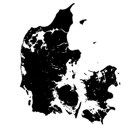 Black map of Denmark vector Banque d'images - 161933463