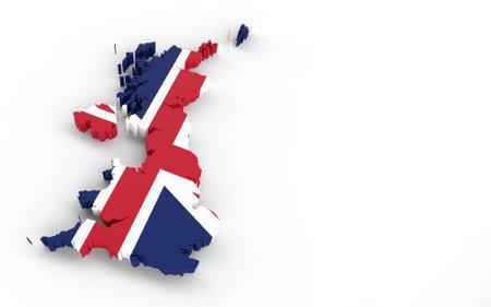 United Kingdom map with United Kingdom flag  Union Jack 3D rendering