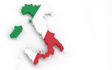 Italy map with Italian flag 3D rendering