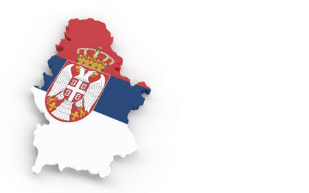 Serbia map with Serbian flag 3D rendering on white