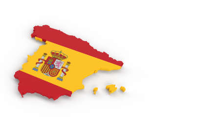 Spain map with Spanish flag 3D rendering on white Banque d'images