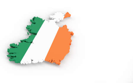 Ireland map with Ireland flag 3D rendering on white