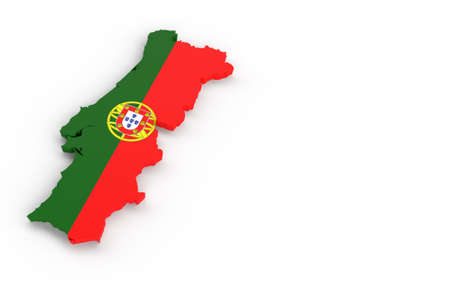 Map of Portugal with Portugal flag 3D rendering on white