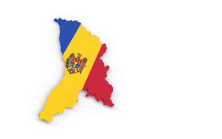 Map of Moldova with Moldova flag 3D rendering Banque d'images - 161712907