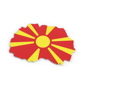 Map of North Macedonia with Macedonian flag 3D rendering
