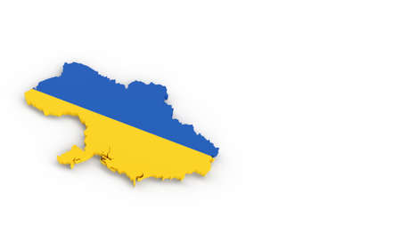 Map of Ukraine with Ukrainian flag 3D rendering Banque d'images - 161712910