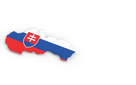 Map of Slovakia with Slovakian flag 3D rendering Banque d'images - 161712913