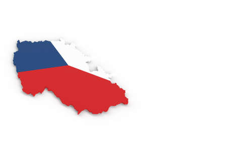 Map of Czech R with Czech flag 3D rendering