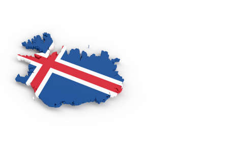 Map of Iceland with Iceland flag