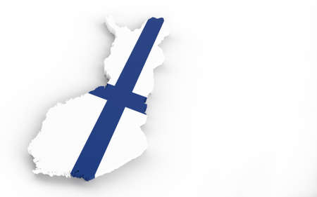 Map of Finland with Finland flag 3D rendering