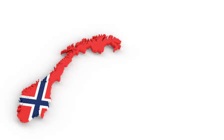 Map of Norway with Norway flag 3D rendering Banque d'images