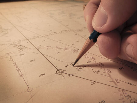 mariner: Marking a way point on a navigational chart
