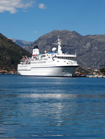 ble: Passenger ship Berlin in Kotor, Boka Kotorska bay, Montenegro; opening nautical  season in the port of Kotor.