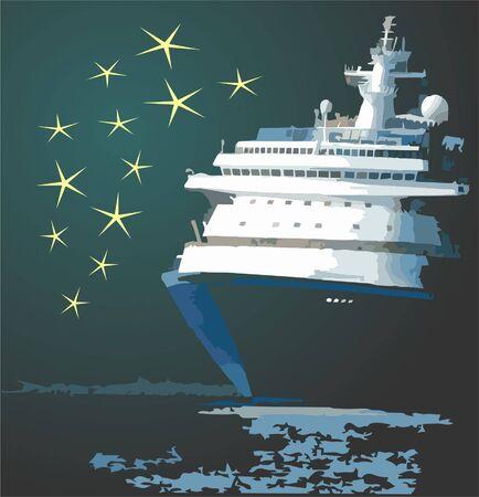 Nave da crociera nella notte con le stelle in background