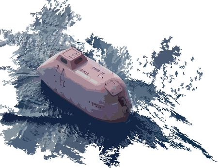 Vector illustration of lifeboat in the water Illustration