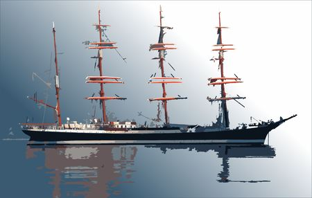 Sailing ship, vector image, can be separated from background
