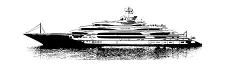 Illustration of luxury yach in black and white. Reklamní fotografie