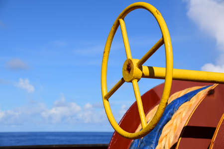 Wheel for brake on a mooring winch. Banque d'images