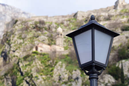 Lantern and church of Our Lady of Health above the Old city of Kotor in Montenegro. Banque d'images