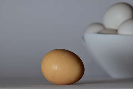 Brown egg separate and out of the cup filled with white eggs. Various light adjustments.