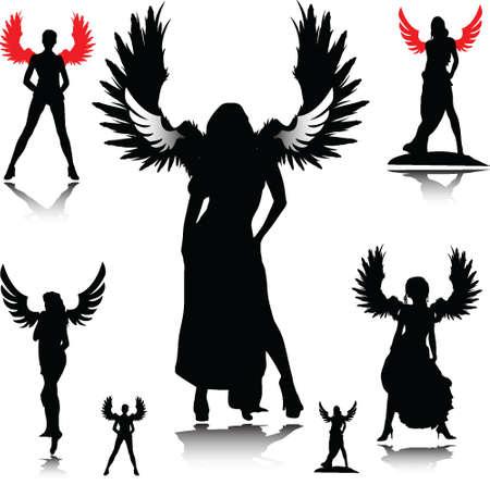 siluetas de vector de Ángel sexy