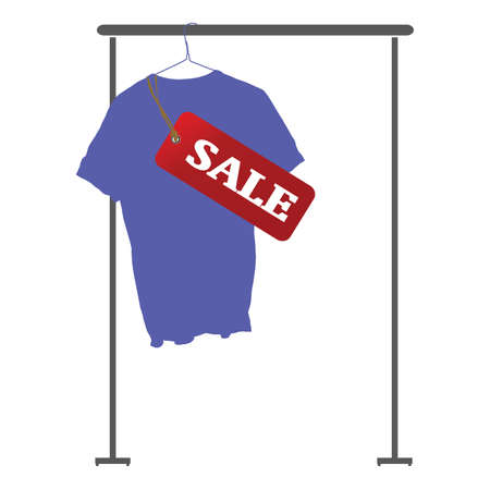 blue shirt: blue shirt on sale art vector of illustration with white background