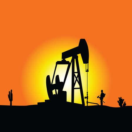 puits de petrole: puits de p�trole vecteur de couleur illustration Illustration