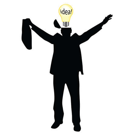 businessman with the idea, silhouette on white Vector