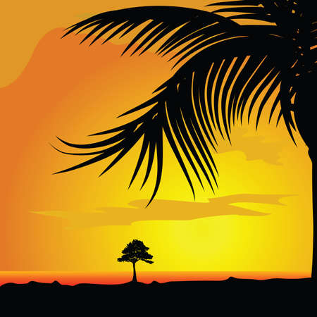 palm and tree in desert illustration background