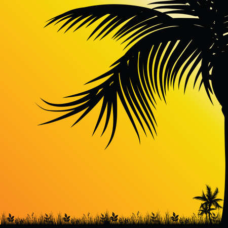 plats: palm tree for background black illustration on yellow