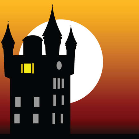 castle at dusk vector illustration on a color background