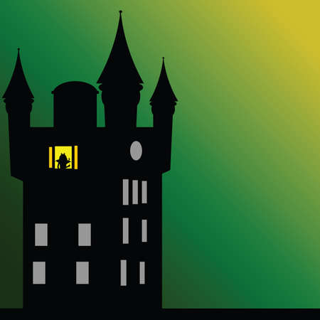 castle with dark green background art vector illustration Illustration